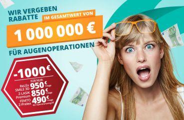 Wir geben einen Rabatt von Einer Million Euro auf die Augenlaseroperationen