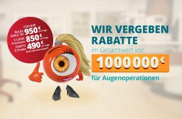 Wir geben einen Rabatt von Einer Million Euro auf Augenchirurgie